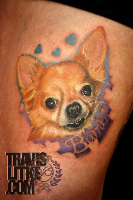 Travis Litke - realistic dog portrait tattoo chihuahua